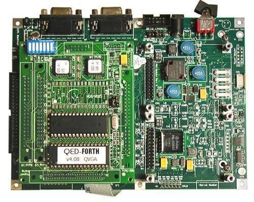 The QVGA Controller showing the QED Board mounted on the QVGA Board.
