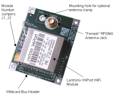 Connector positions on the WiFi Ethernet Wildcard Board