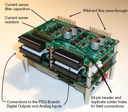 Connections to the PWM driver mezzanine board, which converts PIC microcontroller or 9S12/HCS12 logic level PWM signals to high current pulse width modulated drive, PIC PWM, PWM PIC