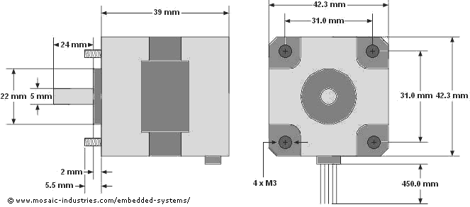 Stepper motor size and physical dimensions for a NEMA 17 stepper motor